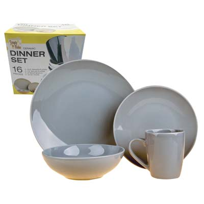 View CERAMIC DINNER SET 16 PC INCLUDES 4 PLATES 10.5 INCH/4 PLATES 7.5 INCH/4 BOWLS 6 INCH & 4 MUGS 12 OZ