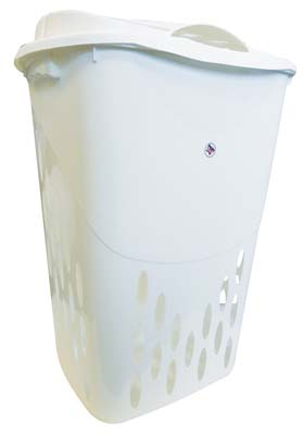 View LAUNDRY BASKET + LID 18.5 X 14.3 X 26 INCH WHITE