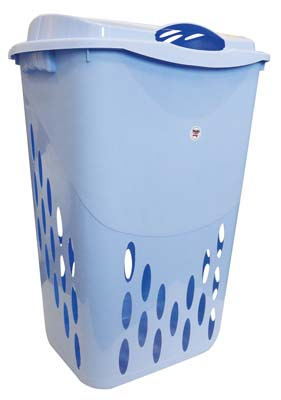 View LAUNDRY BASKET + LID 18.5 X 14.3 X 26 INCH BLUE