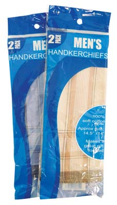 View MENS HANDKERCHIEFS 2 PK 14.5 X 14 INCH ASSORTED STRIPE DESIGN