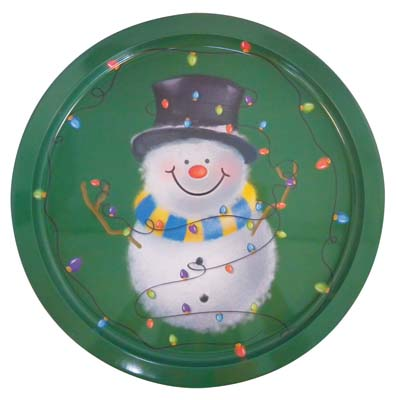 View PRIDE CHRISTMAS METAL ROUND TRAY 12 INCH SNOWMAN DESIGN
