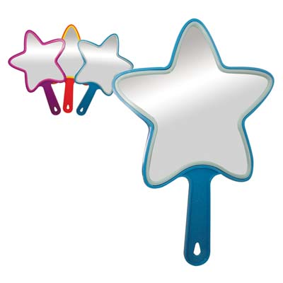 View HAND HELD MIRROR 13 INCH STAR SHAPE ASSORTED COLORS