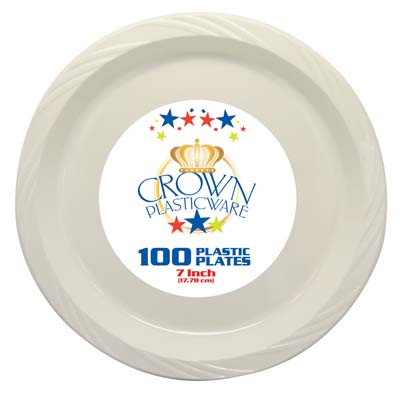 View CROWN PLASTICWARE SNACK PLATE 100 CT 7 INCH WHITE