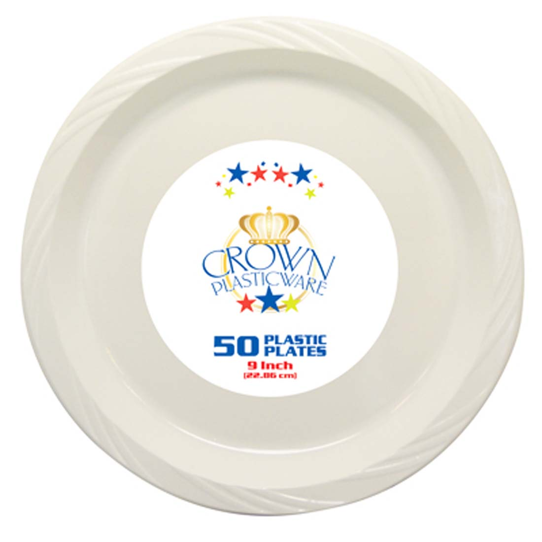 View CROWN PLASTICWARE DINNER PLATE 50 CT 9 INCH WHITE