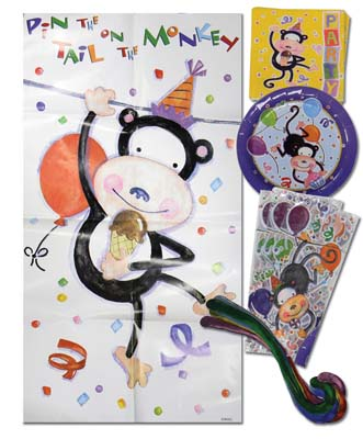 View AMERICAN GREETING BIRTHDAY KIT 33 PC PARTY ANIMAL DESIGN 8 EACH- PLATES/ NAPKINS/CELLO PARTY BAGS/MONKEY TAILS/1 PIN THE TAIL ON THE MONKEY BOARD