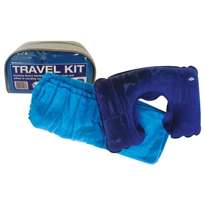View TRAVEL KIT INCLUDES BLANKET & INFLATABLE NECK REST IN CARRYING CASE PREPRICED $9.99