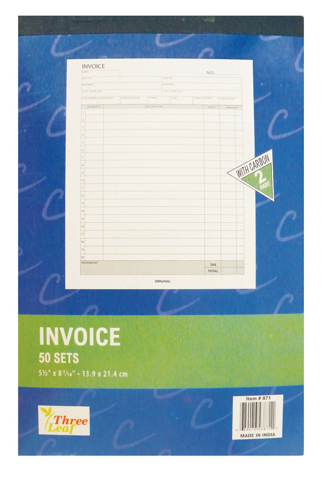 View INVOICE BOOK 50 SETS 5.5 X 8.5 INCH 2 PART WITH CARBON SHEETS