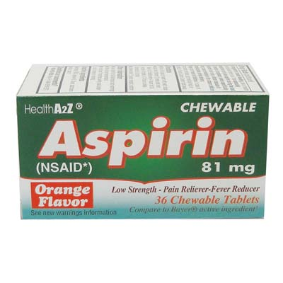 "View ASPIRIN TABLETS 36 CT 81 MG CHEWABLE ORANGE FLAVOR ""COMPARE TO BAYER"" EXP 09/2018"