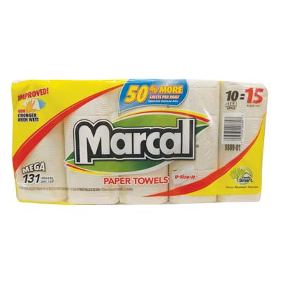 View MARCAL PAPER TOWELS 10 PK 131-2 PLY SHEETS U SIZE IT **MADE IN USA**