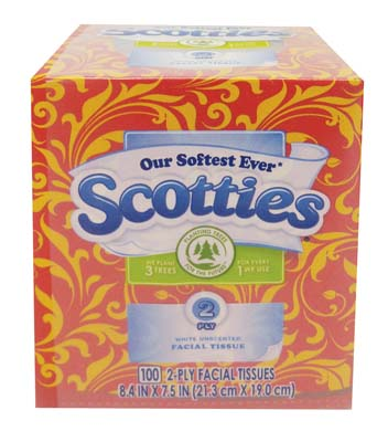 View SCOTTIES FACIAL TISSUE 100-2 PLY SHEETS