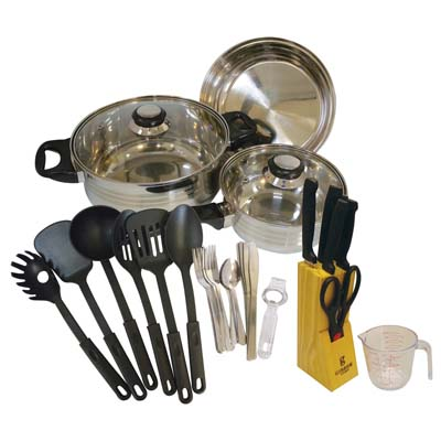 View GIBSON TOTAL KITCHEN SET 32 PC INCLUDES 5 PC COOKWARE SET/12 PC FLATWARE SET/8 PC KITCHEN TOOLS SET/7 PC KNIFE SET