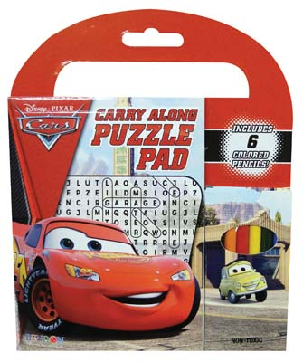 View DISNEY CARS CARRY ALONG PUZZLE PAD 64 PAGES WITH 6 COLORED PENCILS & STICKERS