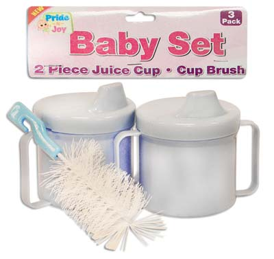 View BABY SET 3 PK - 2 PC 8 OZ JUICE CUPS + 1 PC CUP BRUSH ASSORTED COLORS