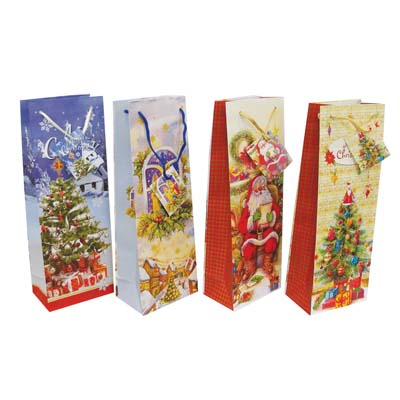 View CHRISTMAS GIFT BAG 14 X 5 X 3.25 INCH BOTTLE SIZE
