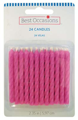 View BIRTHDAY CANDLES 24 CT 2.5 INCH PINK