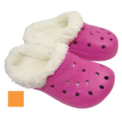 View GIRLS FUR CLOGS ASSORTED SIZES PINK OR ORANGE