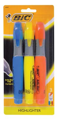 View BIC HIGHLIGHTER 3 PK - BLUE/YELLOW/ ORANGE