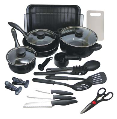 View GIBSON TOTAL KITCHEN SET 30 PIECE INCLUDES 9 PC COOKWARE SET/15 PC KITCHEN TOOLS SET/3 PC KNIFE SET/CUTTING BOARD/2 LARGE MAGNETIC  CLIPS