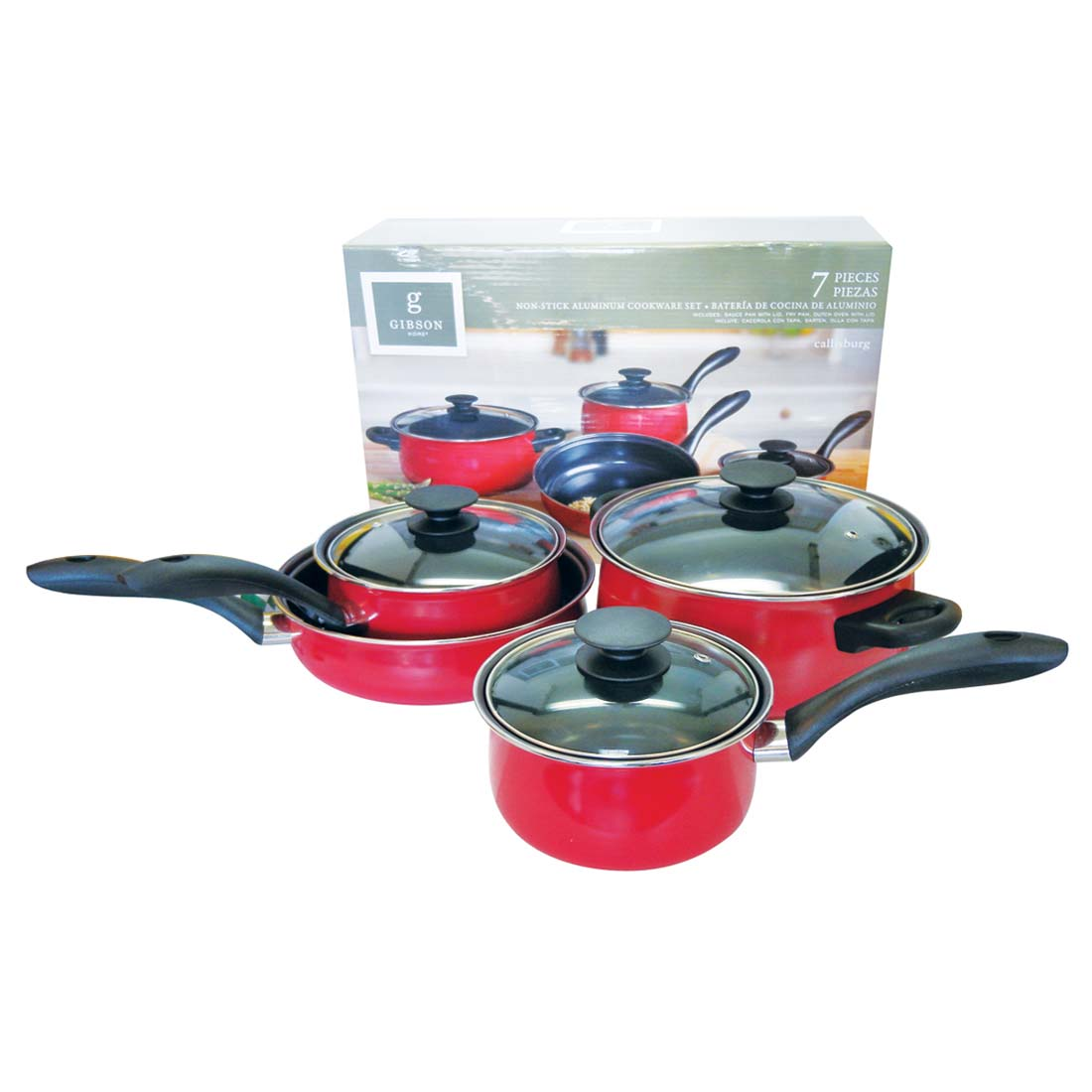 View GIBSON NON-STICK ALUMINUM COOKWARE SET 7 PCS RED-COVERED SAUSEPANS 1.4 QT & 1.9 QT/FRY PAN 9 INCH/COVERED DUTCH OVEN 3.8 QT
