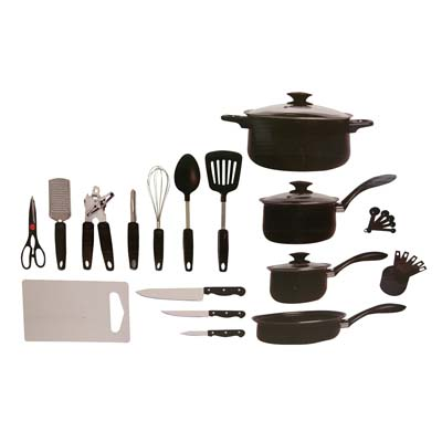 View GIBSON TOTAL KITCHEN SET 28 PC INCLUDES 7 PC COOKEWARE SET/3 PC KINFE SET/ 18 PC KITCHEN TOOL SET