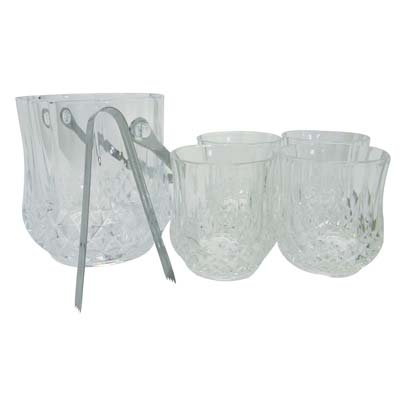 View GIBSON DRINKWARE SET 6 PC- ICE BUCKET/ICE TONG & 4 GLASSES 11 OZ CRYSTAL DESIGN GIFT BOXED