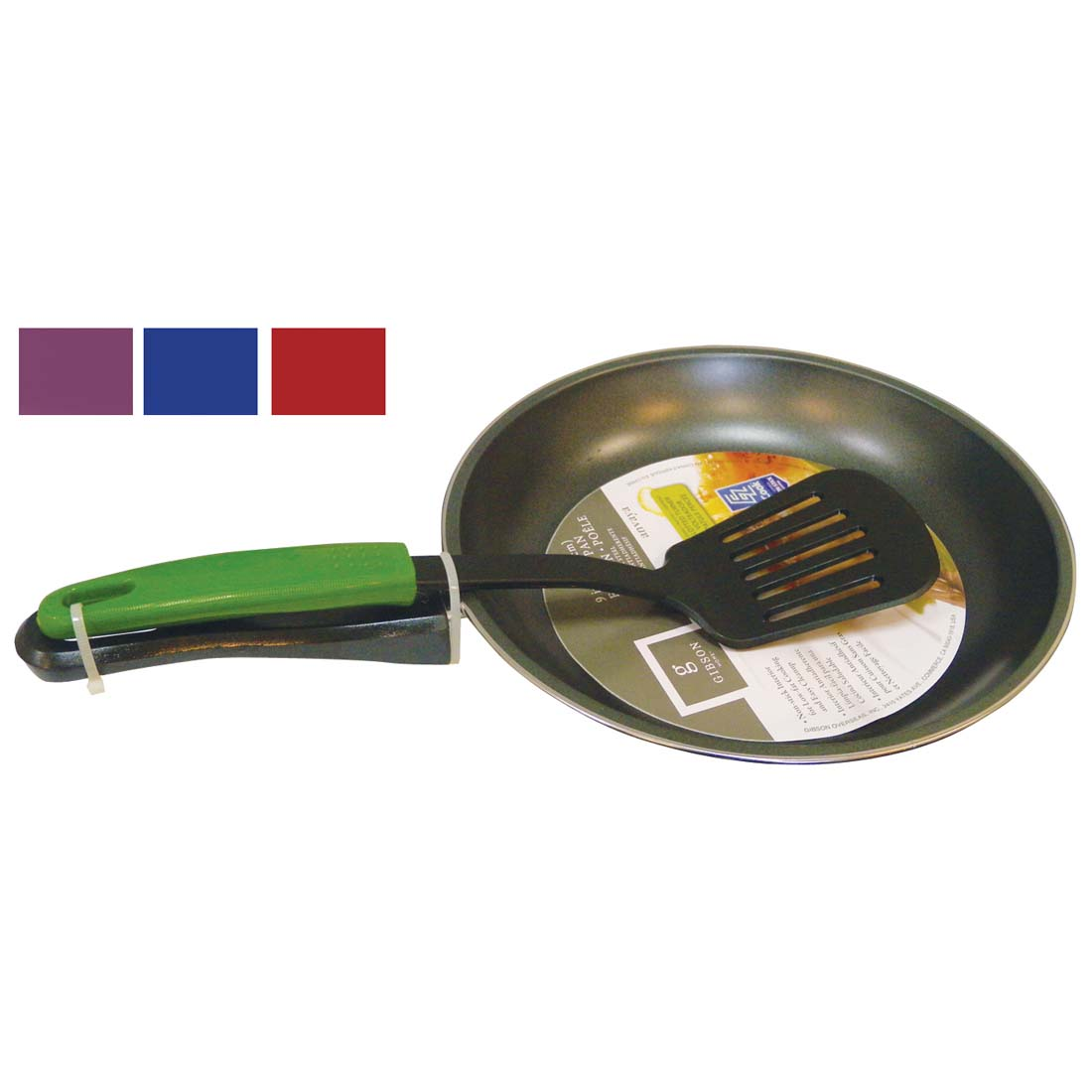 View GIBSON FRYING PAN 9 INCH NON-STICK WITH SPATULA 12.5 INCH ASSORTED COLORS