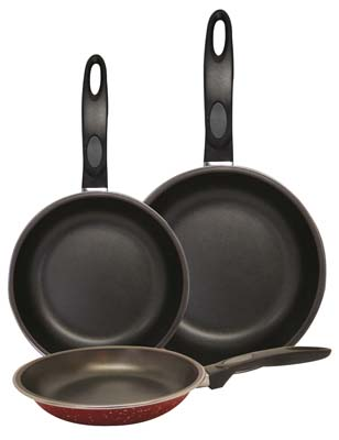 View GIBSON FRY PAN SET 3 PC INCLUDES ONE EACH-7 INCH/ 9 INCH/ 11 INCH PANS RED