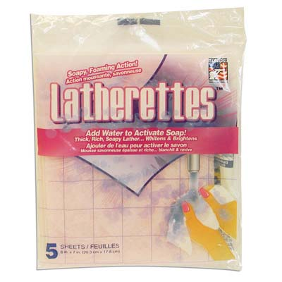 View LATHERETTES CLEANING SHEETS 5 PACK 7.75 X 6 INCH SOAP FILLED ASSORTED COLORS PREPRICED AT $1.00