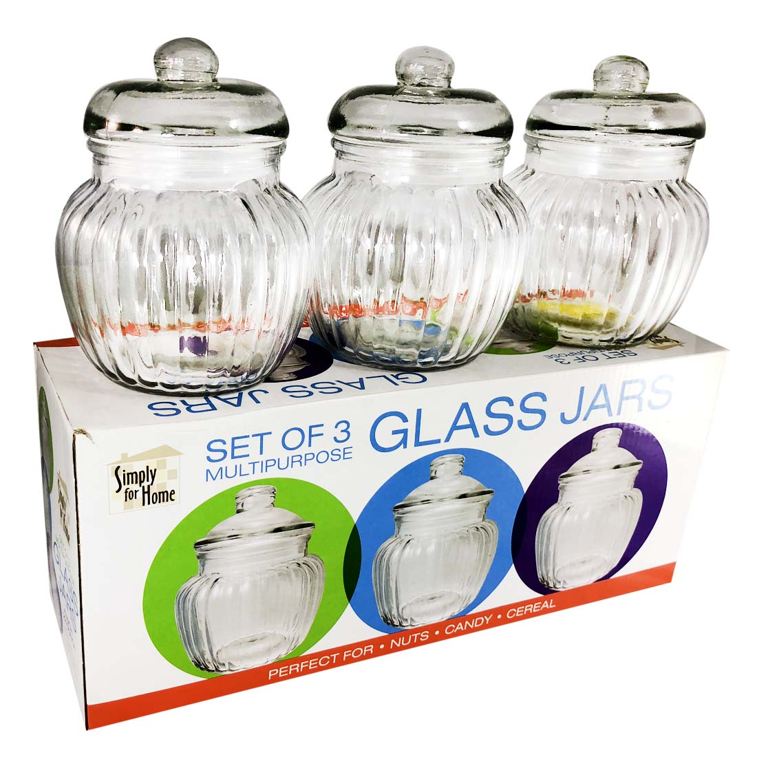 View GLASS JAR SET 3 PIECE 22 OUNCE MULTI-PURPOSE BOXED