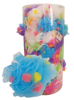 View BATH SPONGE JUMBO WITH CUBE SPONGE ASSORTED COLORS IN DISPLAY
