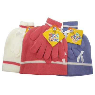 View CHILDREN'S HAT & GLOVE SET ASSORTED COLORS