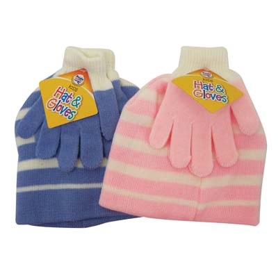 View CHILDREN'S HAT & GLOVE SET STRIPED DESIGNS ASSORTED COLORS