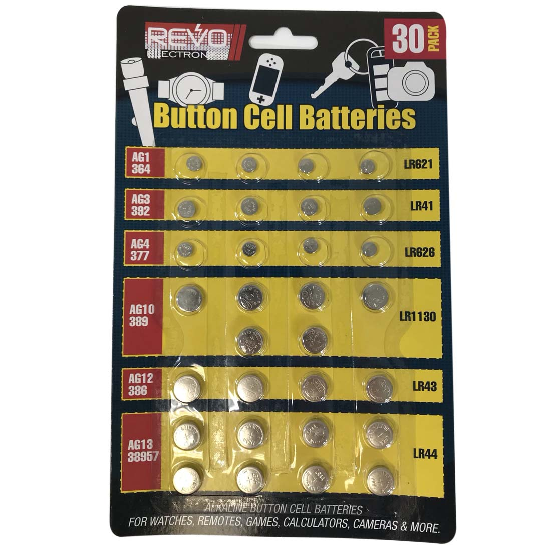 View ALKALINE BUTTON CELL BATTERIES 30 PACK ASSORTED SIZES