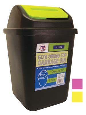 View WASTE BIN 1.3 GALLON WITH SWING TOP ASSORTED COLOR TOPS