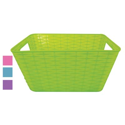 View PLASTIC EASTER BASKET 10 X 8 X 5 INCH RECTANGULAR ASSORTED COLORS