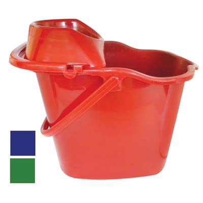 View MOP BUCKET 16 X 12 X 11 INCH  WITH WRINGER & WHEELS ASSORTED COLORS