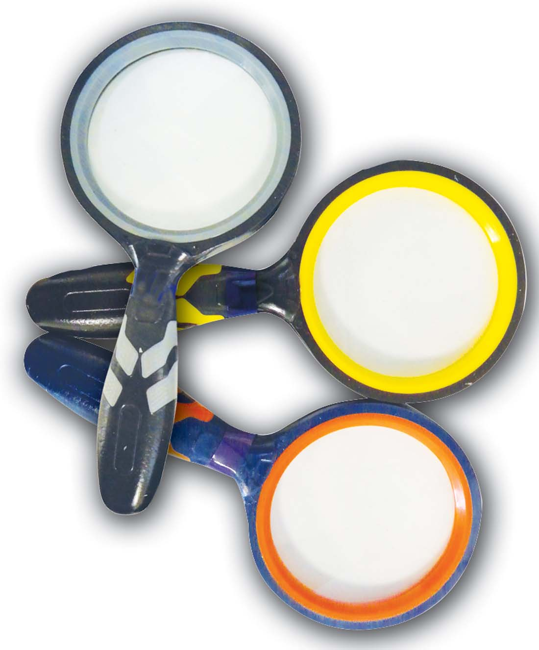 View GLASS MAGNIFIER 3 INCH WITH RUBBER GRIP ASSORTED COLORS IN DISPLAY