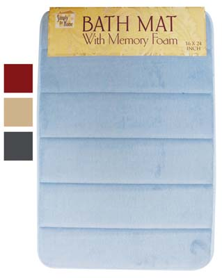 View BATH MAT 16 X 24 INCHES MEMORY FOAM ASSORTED COLORS