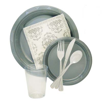 View PARTY TABLEWARE SET 84 PC INCLUDES 12 EACH-10 INCH DINNER PLATE / 7 INCH DESSERT PLATE / COLD CUPS / FORKS / KNIVES / SPOONS / NAPKINS
