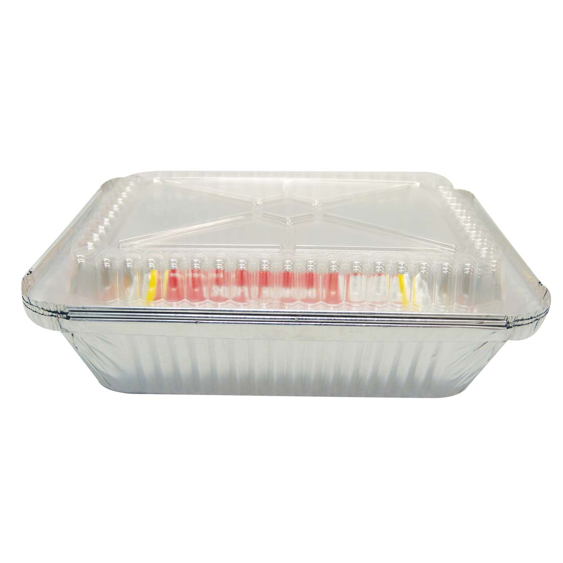 View FOIL PAN 3 PACK 8.75 X 6 X 2.25 INCH WITH DOME LIDS