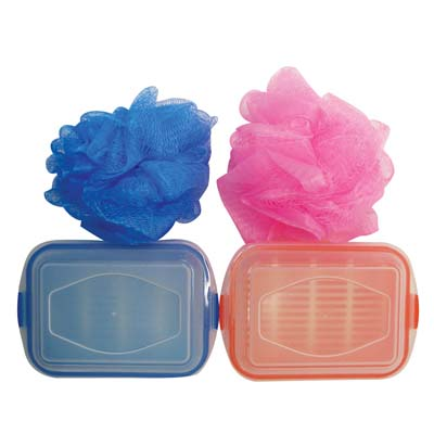 View BATH SET 2 PC INCLUDES BATH SPONGE + SOAP HOLDER ASSORTED COLORS