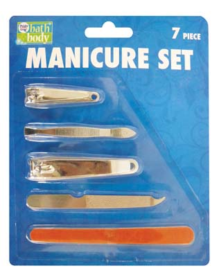 View MANICURE SET 7 PIECE INCLUDES 3 NAIL FILES/ 2 NAIL CLIPPERS/ TWEEZER & STEEL NAIL FILE