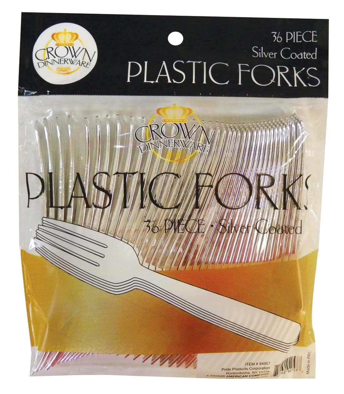 View CROWN DINNERWARE PLASTIC CUTLERY 36 CT FORK SILVER COATED