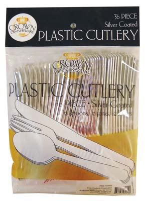 View CROWN DINNERWARE PLASTIC CUTLERY 36 CT COMBO SILVER COATED