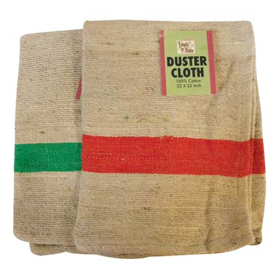 View DUSTER CLOTH 22 X 22 INCH 100% COTTON GREEN & RED STRIPED DESIGN