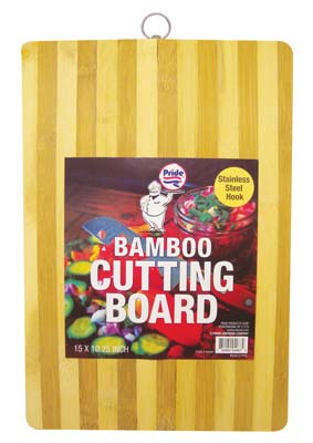 View BAMBOO CUTTING BOARD 15 X 10.25 INCH WITH HANGING HOOK RECTANGULAR
