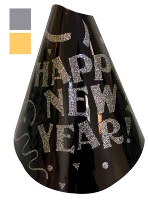 View NEW YEARS PARTY HAT 9 INCH BLACK/GOLD/SILVER