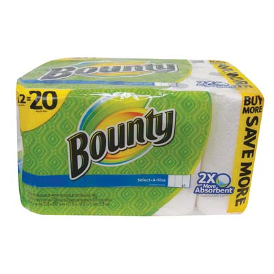 "View BOUNTY PAPER TOWELS 12 PACK 105-2 PLY SHEETS ""SELECT-A-SIZE""  ""NOT INDIVIDUALLY WRAPPED"" **LIMIT 20**"
