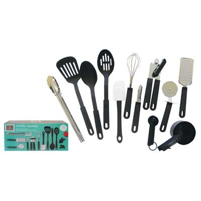 View GIBSON PREP N' SERVE 20 PC SET (SLOTTED TURNER/2 SERVING SPOONS/SPATULA/PEELER/CAN OPENER/WHISK/PIZZA CUTTER/GRATER/FOOD TONG/1 MEASURING CUPS&SPOONS)
